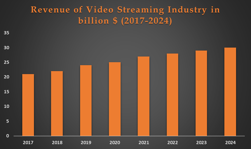 Revenue of video streaming industry 2017-2024