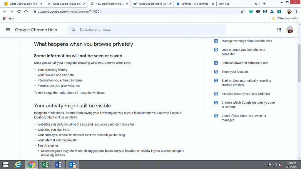 What happens when you browse privately on chrome