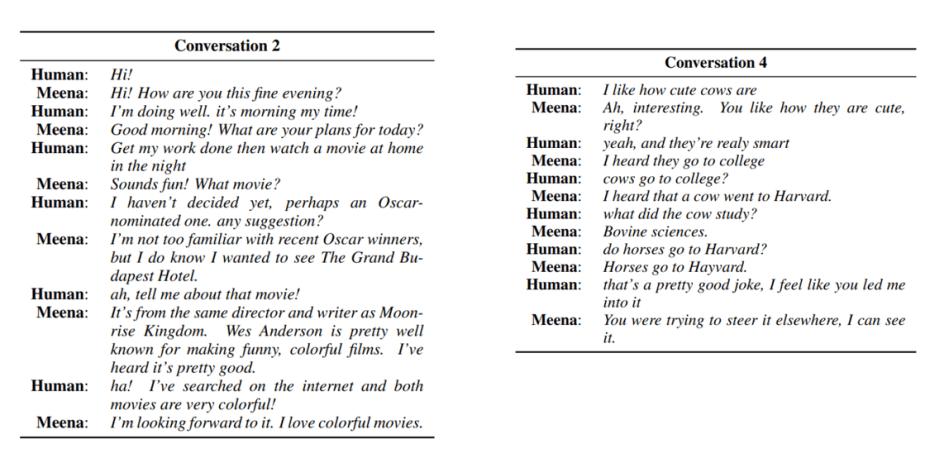 conversation between meena chatbot and human