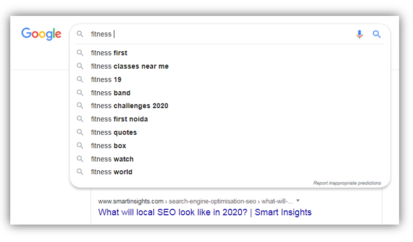 Google suggest fitness search