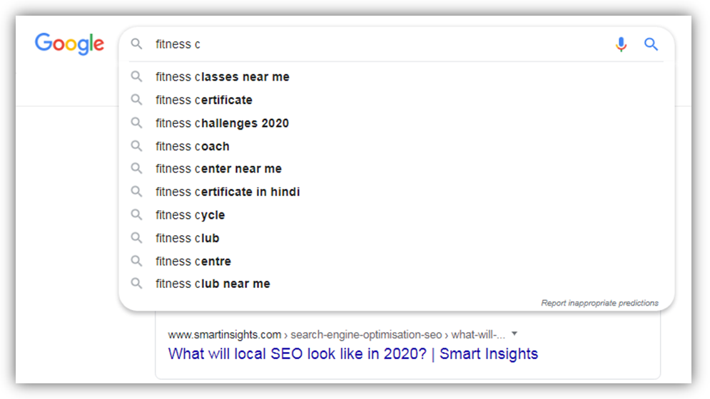 Google suggest fitness search second