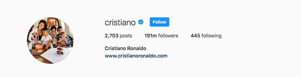 Cristiano Instagram Profile