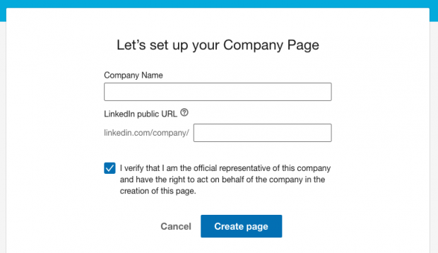 Enter company details create page
