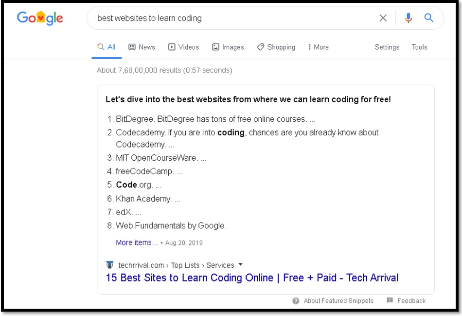 Snippets to Enhance Search Experience best websites to learn coding