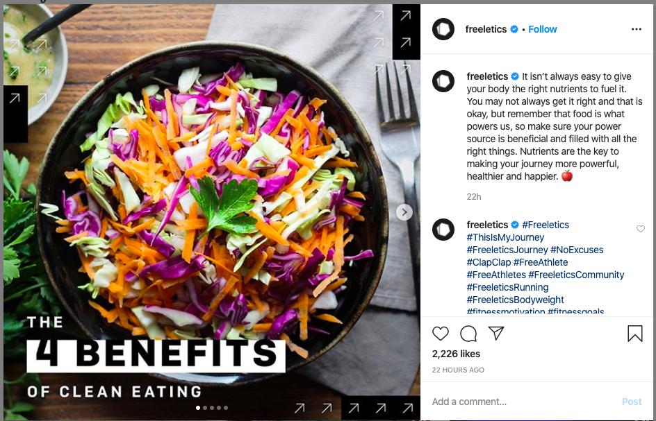 global fitness brand Freeletics Instagram Post