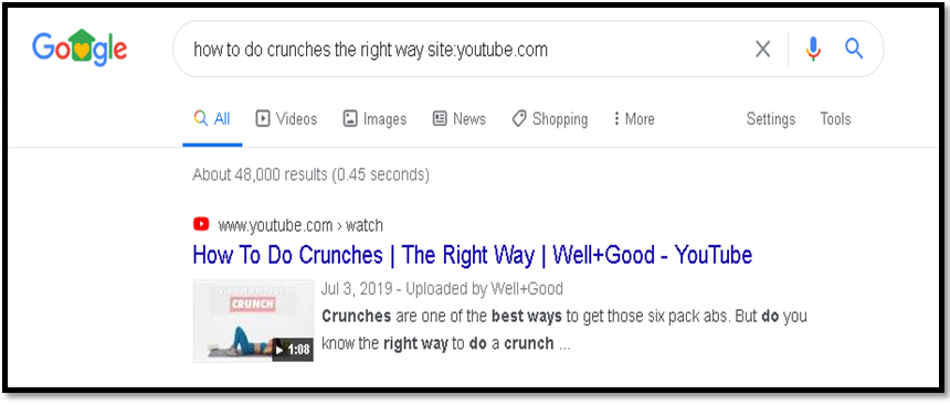 identify the keywords on Google how to do crunches