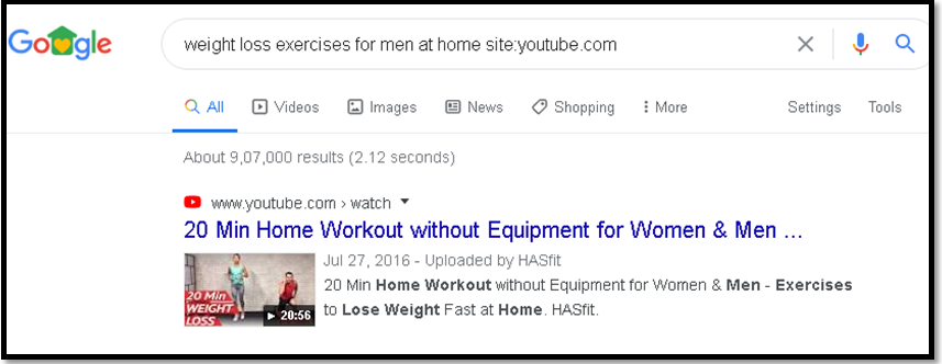 identify the keywords on Google weight loss exercises