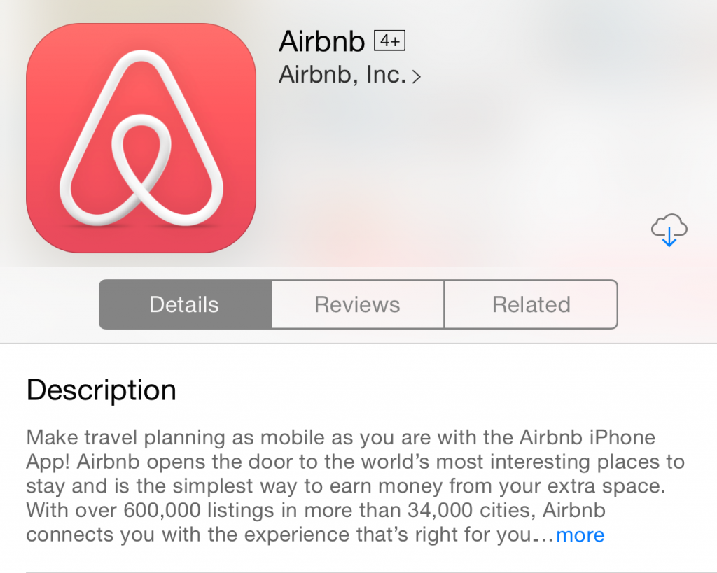 perfect app description(Airbnb)