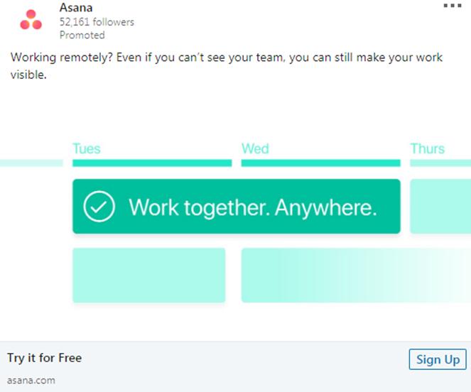 Asana tool work anywhere Ad