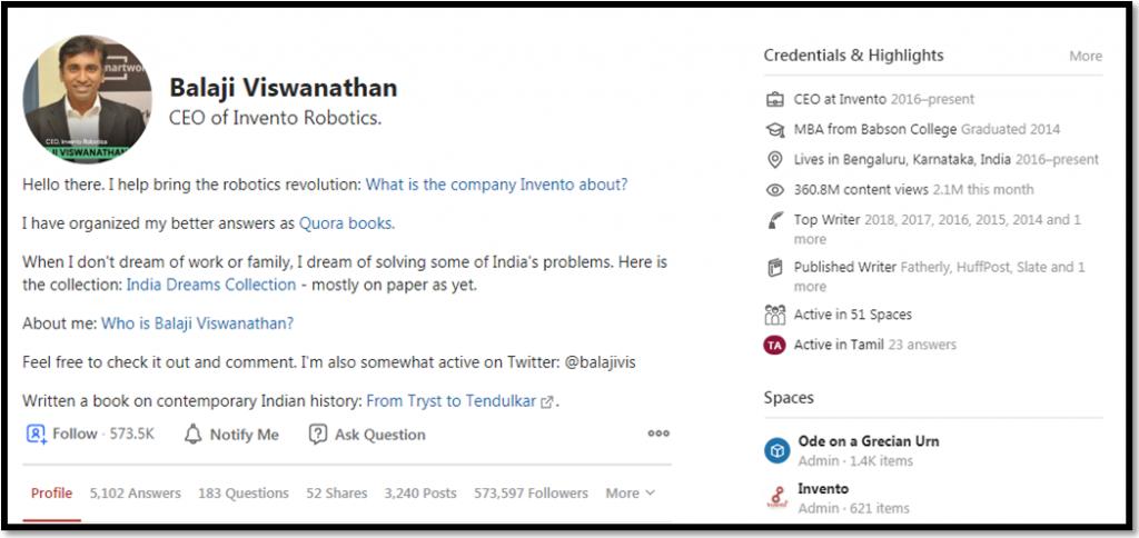 Balaji Vishwanathan Quora Account