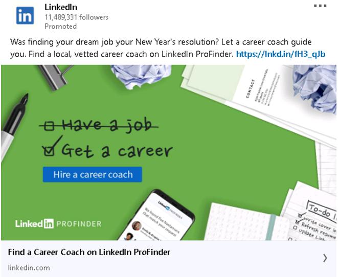 Career coach Ad Linkedin