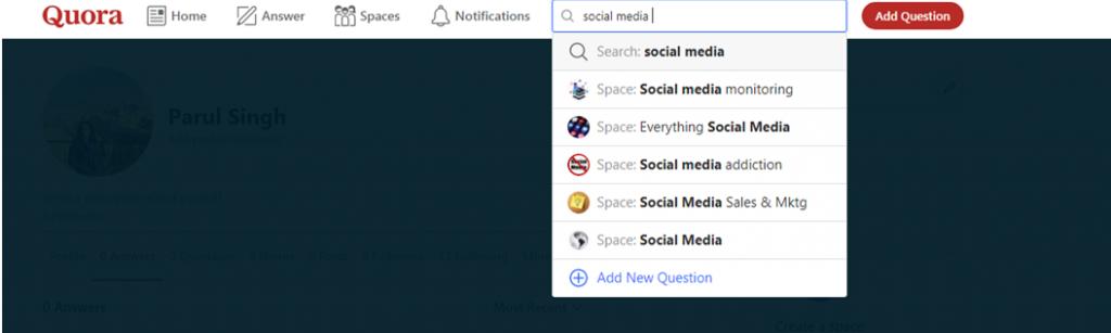 Quora search box