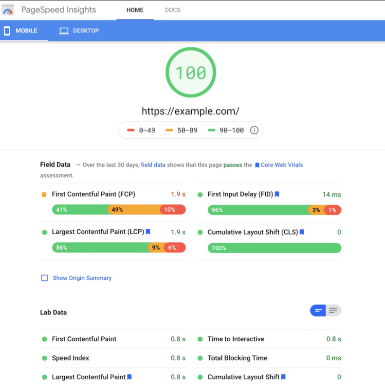 PageSpeed Insights Effects