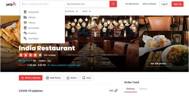 Yelp online review platform