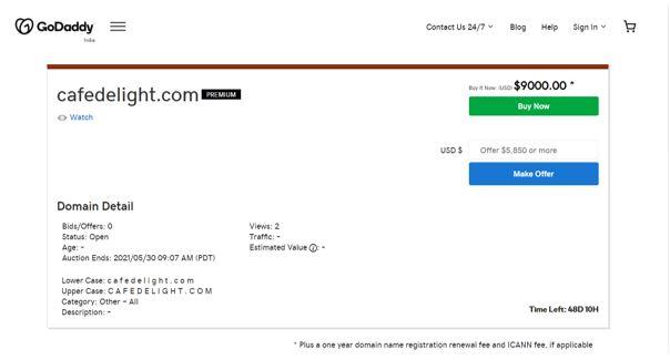 price of domain